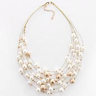 お買い得  -女性用 レイヤード チョーカー  -  真珠, 人造真珠 欧風, ファッション, 多層式 ホワイト, ゴールデン ネックレス 用途 パーティー, 日常, カジュアル