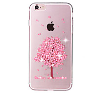 billige iPhone-etuier-For Rhinsten / Transparent / Mønster Etui Bagcover Etui Træ Blødt TPU for Apple iPhone 7 Plus / iPhone 7
