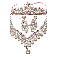 billige -Perle Lyserød Perle Hvid 1 Halskæde 1 Par Øreringe 1 Hår Smykke For Daglig 1 Sæt Bryllupsgaver