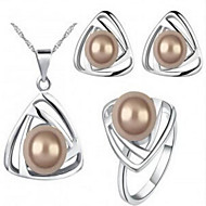 cheap -Women's Pearl Jewelry Set Pearl Ladies, European, Bridal Include White / White / Black / Yellow / White / Brown For Wedding Daily / Rings