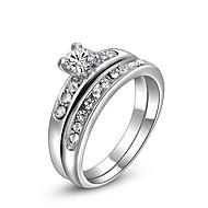 baratos -Mulheres Anel Zircão Imitações de Diamante Liga Dupla camada Fashion Anéis Jóias Prata Para Diário Casual 5 / 6 / 7 / 8 / 9