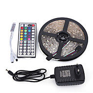 5m 150 leds rgb 44-nyckel ir-styrenhet 12v 3a nätaggregat ac 100-240v led strip light set