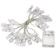 1db 2m mini 20 led 3xAA elem kártya fotó klip húr fények Karácsonyi fények új év party esküvő lakberendezési tündér fény sárga / fehér /