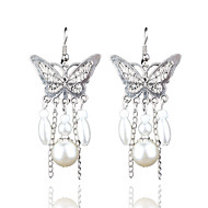 retro lang al-matchende hul perle sommerfugl øredobber elegant stil