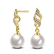 Stangøreringe Perle Lyserød Kvadratisk Zirconium Perle Sølv Imiteret Perle Zirkonium Opal Pink perle Smykker Til Bryllup Fest Daglig