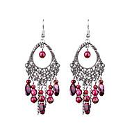 retro lange hule ovale håndlaget perler øredobber klassisk feminin stil