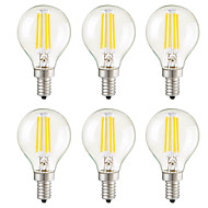 cheap LED Filament Bulbs-KWB 6pcs 3W 400 lm E14 E12 E26/E27 LED Filament Bulbs G45 4 leds COB Dimmable Decorative Warm White AC 220-240 AC 110-130 V
