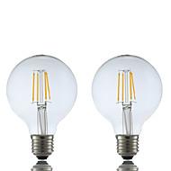 저렴한 -2pcs 4W 400 lm E26/E27 LED필라멘트 전구 G80 4 LED가 COB 따뜻한 화이트 2700K AC 220-240V