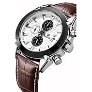 Недорогие Фирменные часы-MEGIR Муж. Спортивные часы Наручные часы Кварцевый 30 m Повседневные часы Натуральная кожа Группа Аналоговый Роскошь Винтаж На каждый день Разноцветный - Черный Коричневый Два года Срок службы батареи