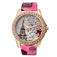 tanie Modne zegarki-Damskie Modny Kwarcowy Stras sztuczna Diament PU Pasmo Heart Shape Wieża Eiffla Biały Niebieski Czerwony Brązowy Szary Rose