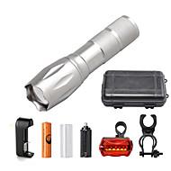 U'King LED손전등 LED 2000 lm 5 모드 Cree XM-L T6 배터리, 충전기 포함 줌이 가능한 조절가능한 초점 컴팩트 사이즈 밝기조절가능 캠핑/등산/동굴탐험 일상용 멀티기능 실버