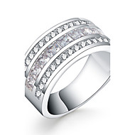 billige Smykker & Ure-Dame Ring - Zirkonium, Kvadratisk Zirconium, Sølvbelagt Luksus 7 / 8 Sølv Til Daglig / Afslappet