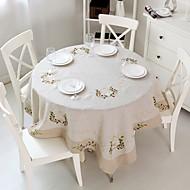Pyöreä Neliö Embroidered Table Cloths , Linen materiaaliHäihin Illallinen Joulu Sisustus Favor Taulukko Dceoration Häät Illallinen