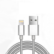 billige Universalt iPhone-tilbehør-USB 2.0 USB-kabeladapter Normal Flettet Kabel Til iPad Apple iPhone 98 cm Aluminium Metal