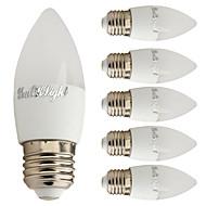 voordelige LED-kaarslampen-6pcs 2W 250 lm E27 LED-kaarslampen C37 6 leds SMD 5730 Decoratief Warm wit 3000 K AC 85-265 V