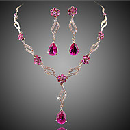 Žene Kristal Sintetička Rubina Nakit Set - Kristal, Zircon, Kubični Zirconia Cvijet dame, Europska, Moda uključiti Svadbeni nakit Setovi Crvena / Pink Za Vjenčanje Party Special Occasion Dnevno