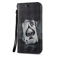 Недорогие Чехлы и кейсы для Galaxy Note-Кейс для Назначение SSamsung Galaxy Бумажник для карт со стендом Флип Магнитный С узором Чехол Черепа Твердый Кожа PU для Note 5 Note 4