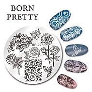 geboren vrij round nail art stempel stempelen platen patroonbeeldgegevens vlinder bloem ontwerp plaat set 5.5cm bp-99