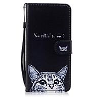 Mert Pénztárca Kártyatartó Állvánnyal Flip Minta Case Teljes védelem Case Cica Kemény Műbőr mert AppleiPhone 7 Plus iPhone 7 iPhone 6s