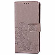 お買い得  携帯電話ケース-ケース 用途 その他 ZTE カードホルダー ウォレット スタンド付き フリップ エンボス加工 フルボディーケース フラワー ハード PUレザー のために