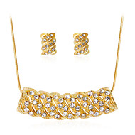 Women's Jewelry Set Costume Jewelry Fashion Classic Rhinestone Gold Plated Alloy Geometric 1 Necklace 1 Pair of Earrings For Party Gift