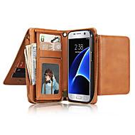 Недорогие Чехлы и кейсы для Galaxy S7 Edge-Кейс для Назначение SSamsung Galaxy S7 edge S7 Бумажник для карт Кошелек Флип Чехол Сплошной цвет Мягкий Настоящая кожа для S7 edge S7 S6
