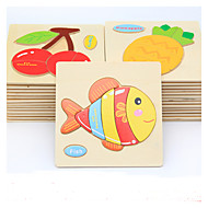 cheap Models & Building Toys-Educational Flash Card Jigsaw Puzzle Wooden Puzzle Fish Animals DIY Cartoon Boys' Girls' Toy Gift
