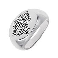 geometrisk Logo Band Ring Signet Ring Dyr Ulv Unikt design Vintage Euro-Amerikansk Moderinge Smykker Hvid Til Speciel Lejlighed Halloween 8 / 9 / 10 / 11 / 12