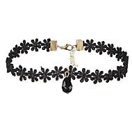 abordables Joyería floral-Mujer Gargantillas - Tela de Encaje Gota Colgante, Básico Negro Gargantillas Para Boda, Aniversario, Cumpleaños