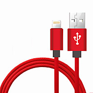 Lightning USB 2.0 Flettet Bærbar Høyhastighet Kabel Til iPhone iPad MacBook MacBook Air MacBook Pro cm Nylon Aluminium