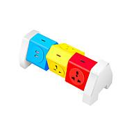 Abs kleurrijke power strip 6 poort met 2 usb laadpoort 180 graden vrije rotatie over bereik bescherming