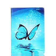 Недорогие Чехлы и кейсы для Galaxy Tab A 9.7-Кейс для Назначение SSamsung Galaxy Вкладка 9,7 Бумажник для карт Кошелек со стендом Флип Магнитный С узором Чехол Бабочка Твердый Кожа PU