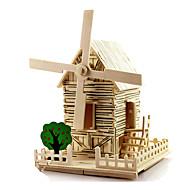 tanie Zabawki & hobby-Samochodziki do zabawy Zabawki 3D Wiatraki Model drewna Model Bina Kitleri Zabawki Wiatrak Znane budynki Dom Architektura DIY Drewniany