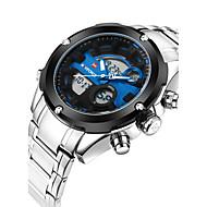 abordables Relojes Deportivos-NAVIFORCE Hombre Reloj Casual Reloj Deportivo Reloj de Moda Cuarzo Calendario Cool Acero Inoxidable Banda Analógico Lujo Casual Plata - Blanco Rojo Azul