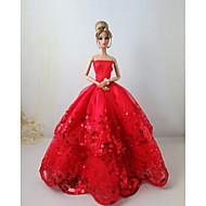저렴한 -파티 / 이브닝 드레스 에 대한 Barbiedoll 스팽글 / 공단 드레스 에 대한 여자의 인형 장난감