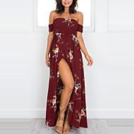 فستان نسائي ثوب ضيق طباعة طويل للأرض ورد بدون حمالات مناسب للعطلات شاطئ / دون الكتف
