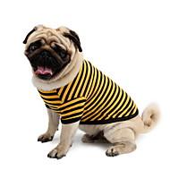 お買い得  -犬 Tシャツ 犬用ウェア 縞柄 イエロー ピンク 白 / 青 コットン コスチューム ペット用