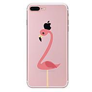 Недорогие Кейсы для iPhone 8 Plus-Кейс для Назначение Apple iPhone X iPhone 8 Прозрачный С узором Кейс на заднюю панель Фламинго Мягкий ТПУ для iPhone X iPhone 8 Pluss