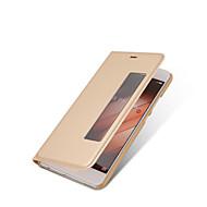 お買い得  携帯電話ケース-ケース 用途 Huawei社P9 / Huawei / Huawei社P9プラス ウィンドウ付き / オートオン/オフ / フリップ フルボディーケース ソリッド ハード PUレザー のために P10 Plus / P10 / Huawei P9 Plus