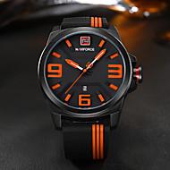 Недорогие Фирменные часы-NAVIFORCE Муж. Повседневные часы Спортивные часы Модные часы Японский Кварцевый 30 m Календарь Творчество Cool силиконовый Группа Аналоговый Роскошь На каждый день Элегантный стиль Черный -