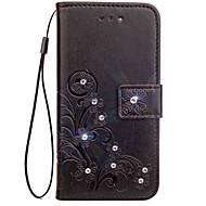 お買い得  携帯電話ケース-ケース 用途 Asus Zenfone 4 ZE554KL Zenfone 4 Selfie ZD552KL ラインストーン フリップ エンボス加工 フルボディーケース 曼荼羅 バタフライ ハード PUレザー のために Asus Zenfone V V520KL Asus
