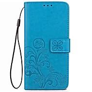 Кейс для Назначение Другое Xiaomi Бумажник для карт Кошелек со стендом Флип Рельефный Чехол Сплошной цвет Цветы Твердый Кожа PU для