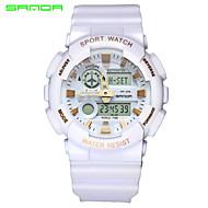 Недорогие Фирменные часы-SANDA Муж. Спортивные часы Наручные часы Японский Кварцевый Цифровой 30 m Защита от влаги Будильник С двумя часовыми поясами Pезина Группа Аналого-цифровые Кулоны Черный / Белый -  / Два года