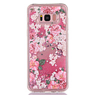 Недорогие Чехлы и кейсы для Galaxy S8-Кейс для Назначение SSamsung Galaxy S8 Plus S8 Движущаяся жидкость Прозрачный С узором Задняя крышка Сияние и блеск Цветы Мягкий TPU для