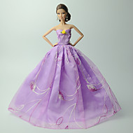 cheap Toy & Game-Dresses Dress For Barbie Doll Linen / Cotton Blend / Satin / Tulle Dress For Girl's Doll Toy
