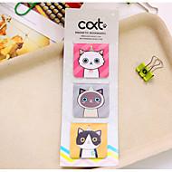 abordables Artículos de escritorio Gadgets-3 PC / fijaron la señal magnética del gato de la historieta (color al azar)