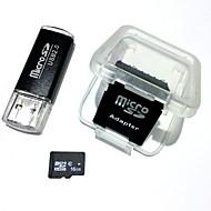 Недорогие Карты памяти-Карточка памяти microsdhc 16gb с карточкой usb и приспособлением sdhc sd