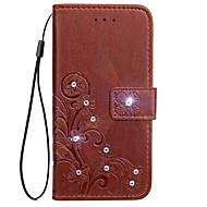 Hoesje voor xiaomi redmi note 2 3 hoesje kaarthouder portemonnee rhinestone met tribune flip reliëf vol body hoesje bloem hard pu leer