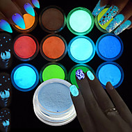 12Bottles/Set Hot Fashion Nail Art Fluorescent Glitter Powder Glow In The Dark DIY Sparkling Pigment Flash Decoration For Nail Art Beauty YS1-12