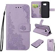 Недорогие Чехлы и кейсы для Galaxy S7-Кейс для Назначение SSamsung Galaxy S7 edge S7 Бумажник для карт Кошелек со стендом Флип Рельефный Чехол Цветы Сияние и блеск Твердый